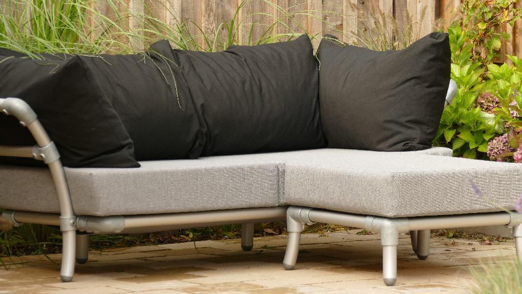 loungebank tuin  zwart grijs