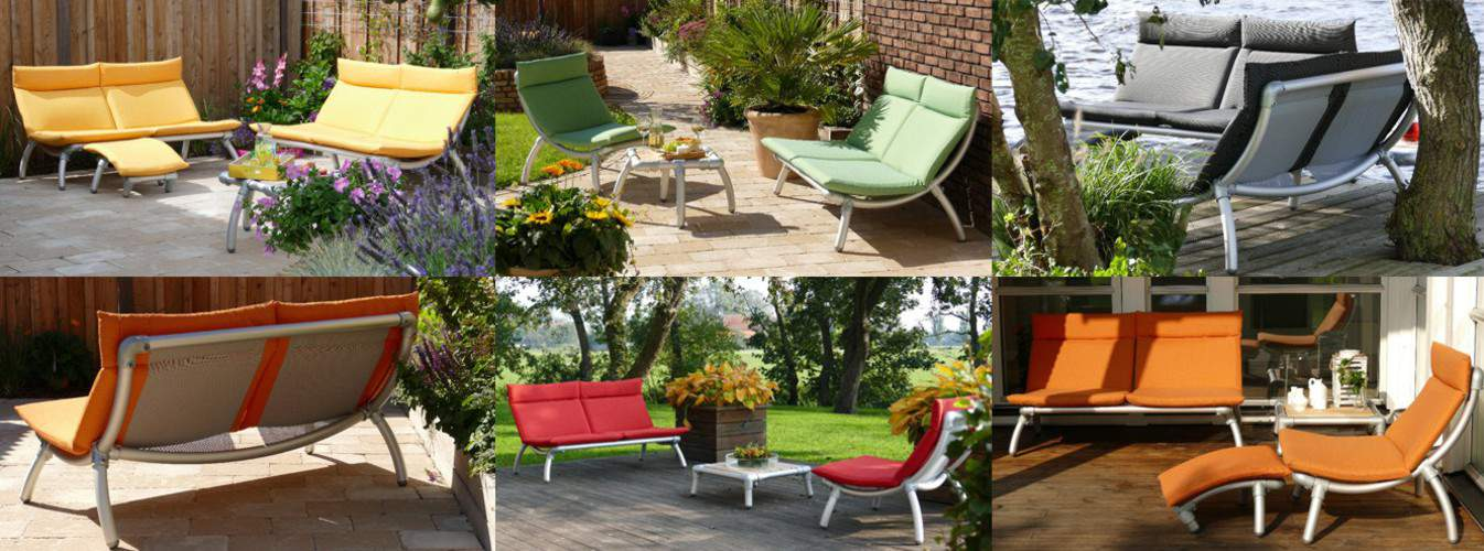 lounge tuinbank en design loungeset voor buiten of voor op het terras.  In vele kleuren verkrijgbaar.