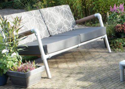 loungebank antraciet voor buiten in de tuin