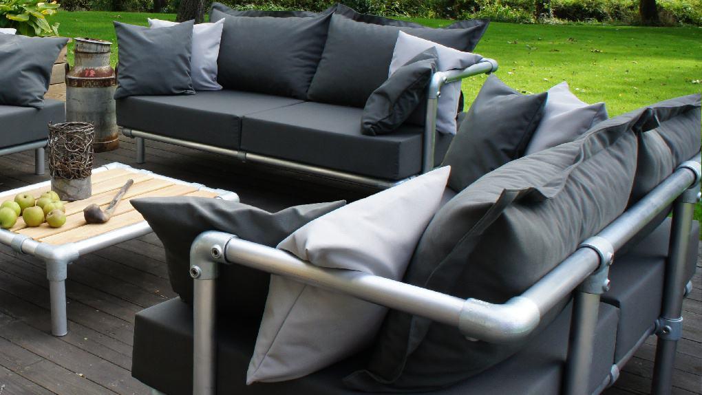 lounge set met lossen kussens voor buiten in tuin met verstelbare mogelijkheden