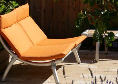 provence oranje loungebank voor buiten in tuin