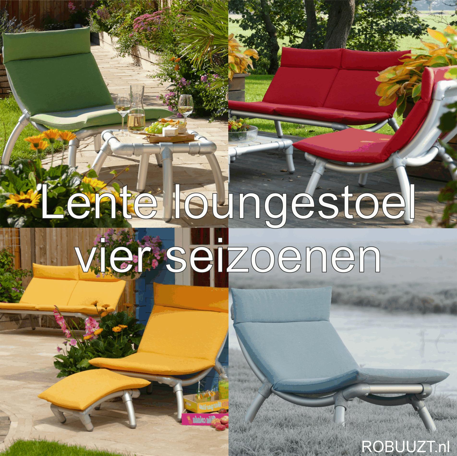 loungestoel buiten in vier seizoenen: winter, lente, zomer, herfst. Design tuinmeubel voor alle jaargetijden.