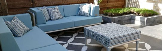 loungeset tuin van aluminium met blauwe kussens snel leverbaar