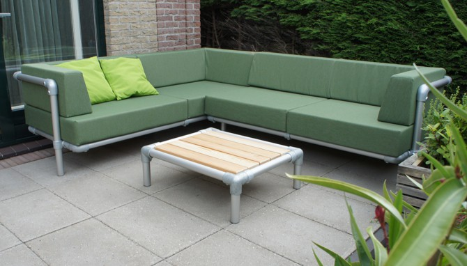 loungebank en chaise longue tuin, maatwerk hoekbank