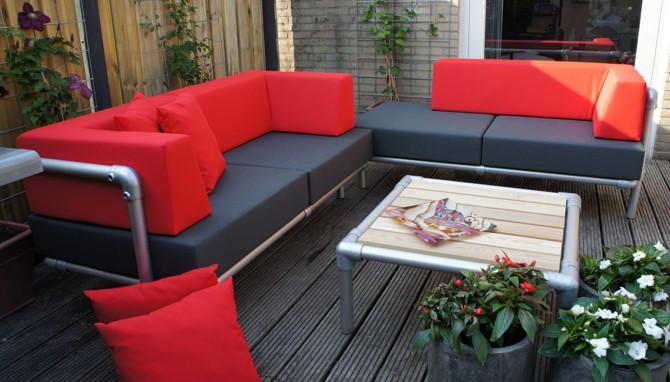 loungeset tuin aluminium met kussens rood en donker grijs