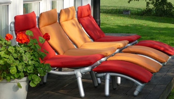 all weather loungestoel in rood en orange