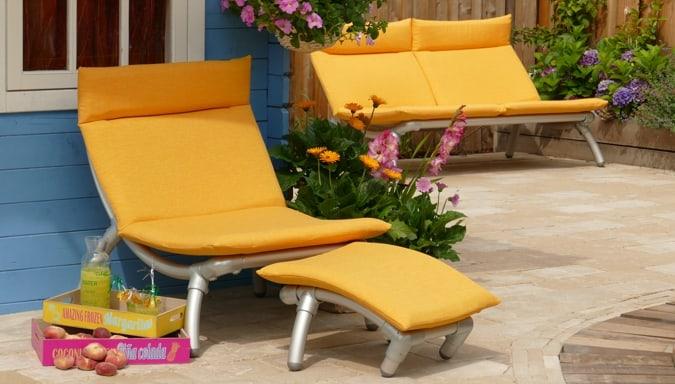 vier seizoenen loungebank en stoel in geel