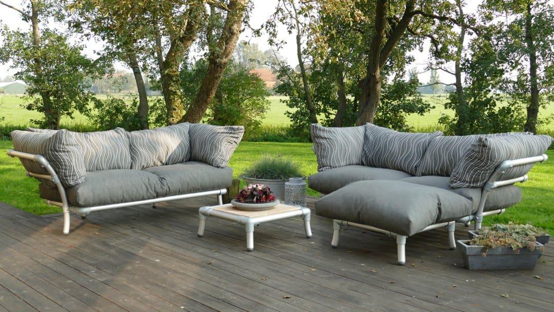 loungebanken voor buiten in de tuin in de kleur antraciet
