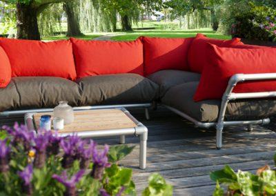 steigerbuizen lounge hoekbank voor in de tuin