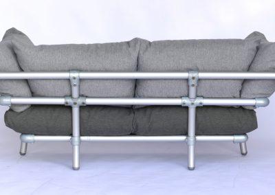 loungebank tuin met grijze kussens