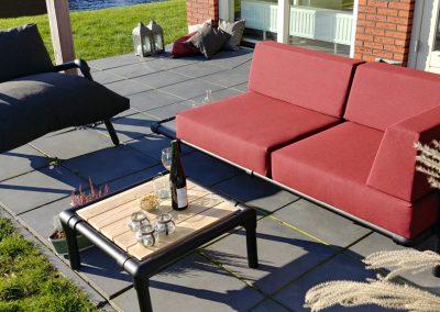 loungeset voor in de tuin, industrieel design