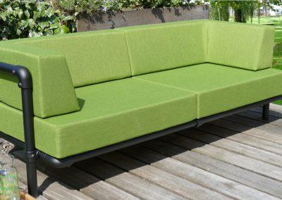 loungebank tuin met kussens in de kleur groen