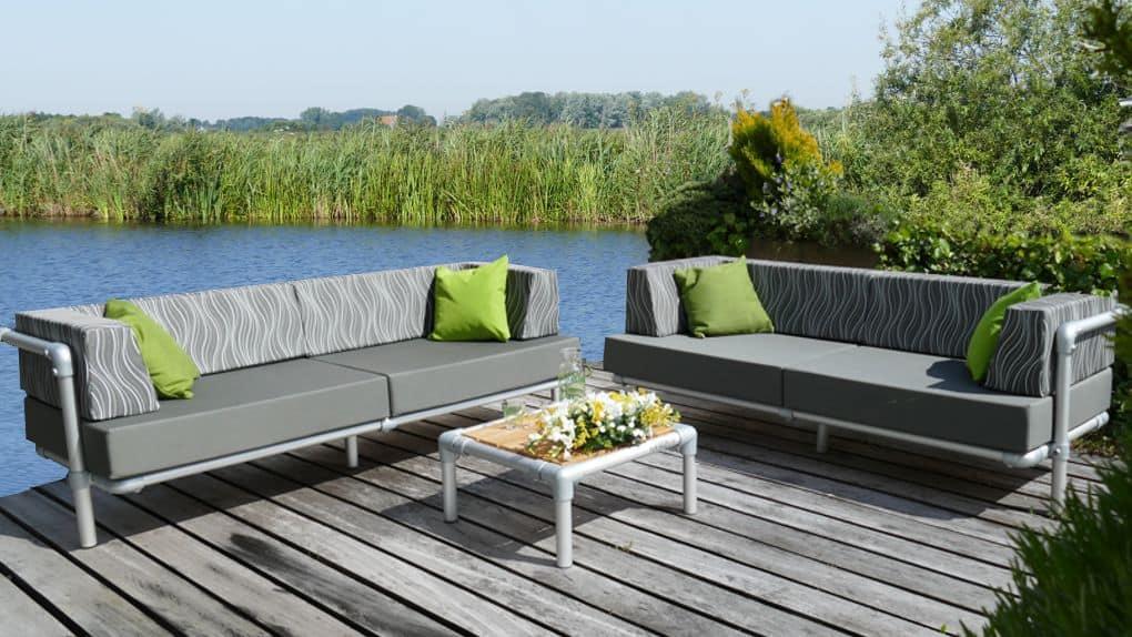 loungebanken op maat voor buiten op het terras